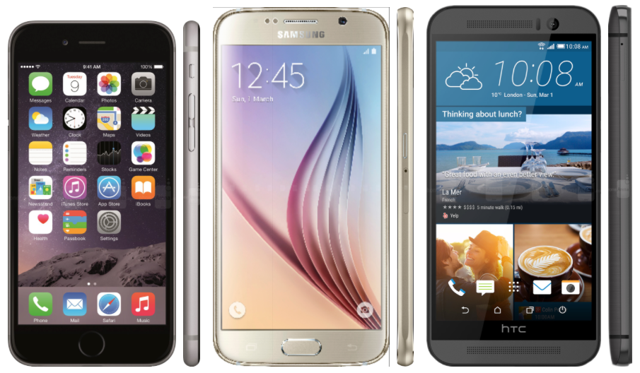 iPhone 6 vs Galaxy S6 vs One M9