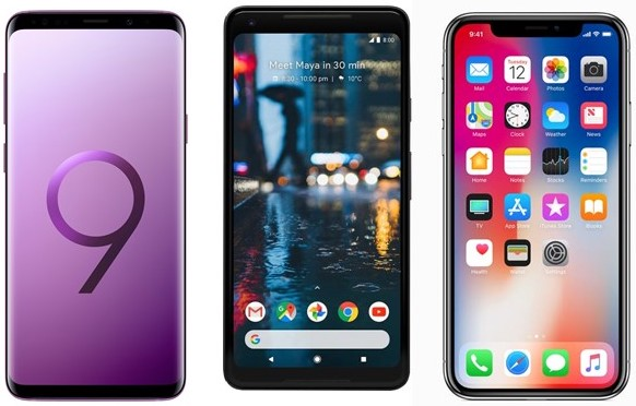 Galaxy S9+ vs Google Pixel 2 vs iPhone X