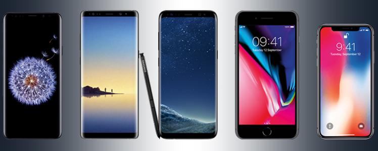 GalaxyS9+, GalaxyNote8, Galaxy S8+, iPhone8+, iPhoneX